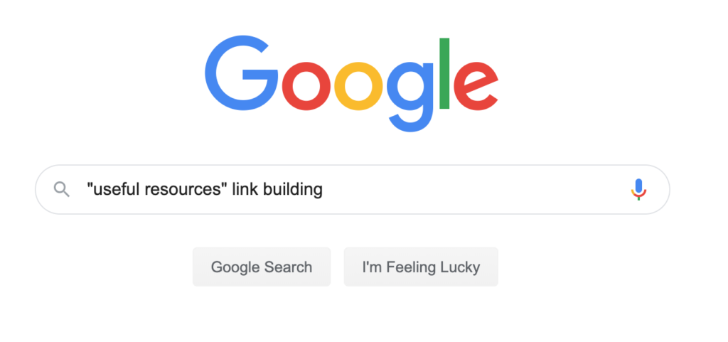 "google search ""useful resources"" link building"