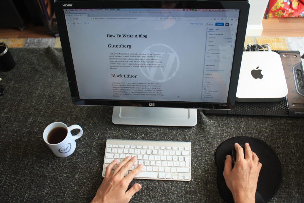 Wordpress site on a desktop