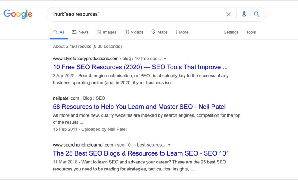 Google search result page of seo resources for link building strategies
