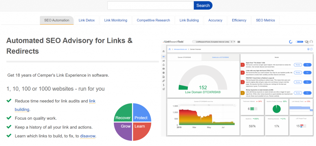 link research tool dashboard